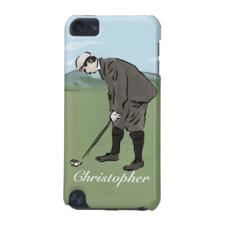 Personalized Vintage style golfer putting iPod Touch (5th Generation) Covers