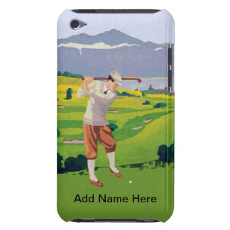 Personalized Vintage Style Highlands Golfing Scene iPod Case-Mate Case