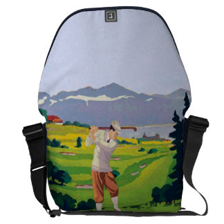 Personalized Vintage Style Highlands Golfing Scene Messenger Bag