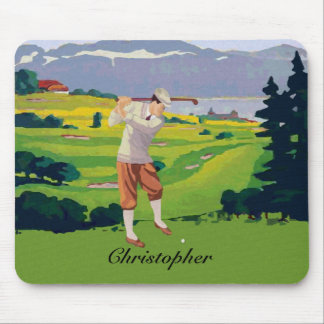 Personalized Vintage Style Highlands Golfing Scene Mouse Mat