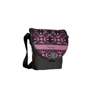 Personalized Vintage Style Purple Geometric Damask Commuter Bags
