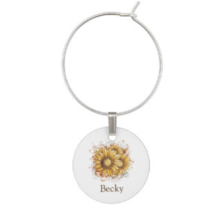 Personalized Vintage Sunflowers Wine Charm