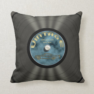Personalized Vintage Vinyl Record Throw Pillow