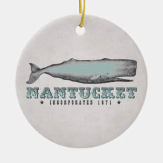 Personalized Vintage Whale Nantucket Massachusetts Christmas Ornament