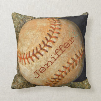 Personalized vintage White softball red stitching Cushion
