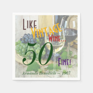 Personalized Vintage Wine and Fine Disposable Serviettes