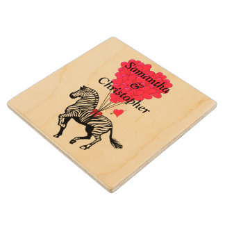 Personalized vintage Zebra and love heart Wood Coaster