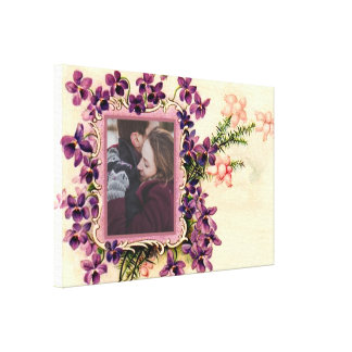 Personalized vintge floral photo frame canvas print