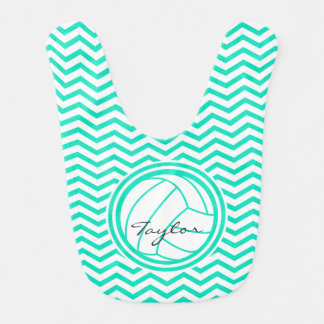 Personalized Volleyball; Aqua Green Chevron Bib