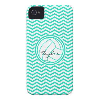 Personalized Volleyball Aqua Green Chevron iPhone 4 Case