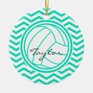 Personalized Volleyball; Aqua Green Chevron Christmas Ornament