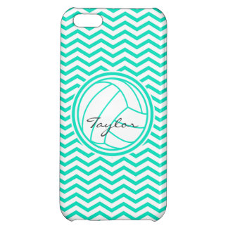 Personalized Volleyball Aqua Green Chevron iPhone 5C Covers