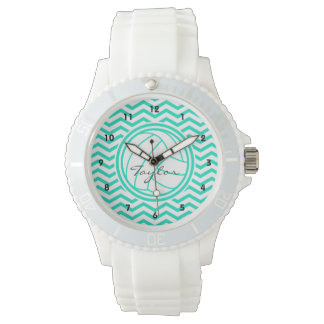 Personalized Volleyball; Aqua Green Chevron Wristwatches