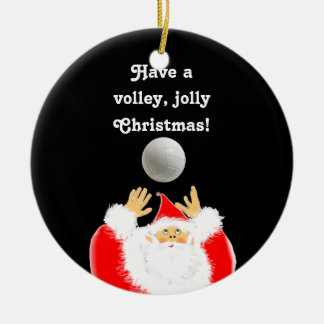 personalized volleyball Christmas Round Ceramic Decoration