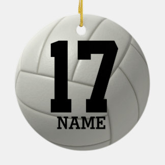 Personalized Volleyball (name and team number) Christmas Ornament