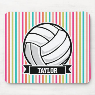 Personalized Volleyball on Colorful Stripes Mouse Pad