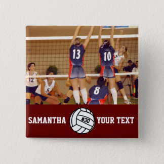 Personalized Volleyball Photo Name Team # 15 Cm Square Badge