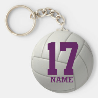 Personalized Volleyball (purple name & number) Basic Round Button Key Ring