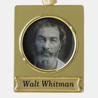 Personalized Walt Whitman Portrait Gold Plated Banner Ornament