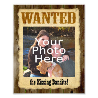 Personalized Wanted Poster Large Photo w Text