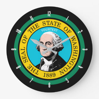Personalized Washington State Flag Design on a Large Clock