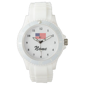 Personalized watch with name and American flag