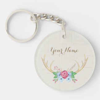 Personalized Watercolor Deer Antlers with Flowers Key Ring