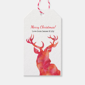 Personalized Watercolor Deer Christmas gift tags