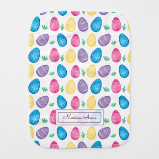 Personalized Watercolor Easter Egg Pattern Burp Cloth
