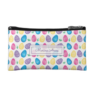 Personalized Watercolor Easter Egg Pattern Makeup Bag