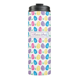 Personalized Watercolor Easter Egg Pattern Thermal Tumbler