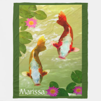 Personalized Watercolor Fish Swimming Photography Fleece Blanket
