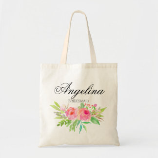 Personalized Watercolor Floral Bridesmaid Tote Bag