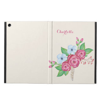 Personalized Watercolor Floral Flower Bouquet iPad Air Cover