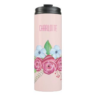 Personalized Watercolor Floral Flower Bouquet Thermal Tumbler