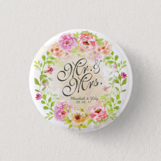 Personalized Watercolor Floral Wedding Pin Button