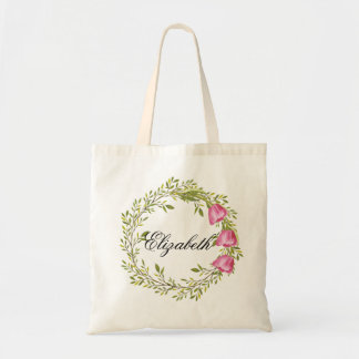 Personalized Watercolor Floral Wreath Bridemaids Tote Bag