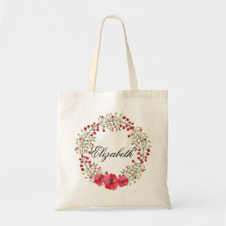 Personalized Watercolor Floral Wreath Bridesmaids Tote Bag
