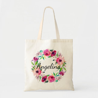 Personalized Watercolor Floral Wreath Wedding Tote Bag