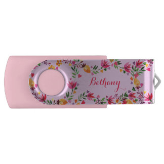 Personalized Watercolor Flowers and Hearts Swivel USB 2.0 Flash Drive
