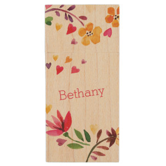 Personalized Watercolor Flowers and Hearts Wood USB 2.0 Flash Drive