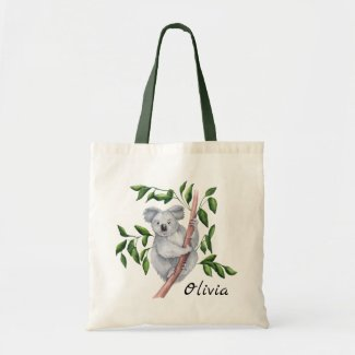 Personalized Watercolor Koala Bear Tote Bag