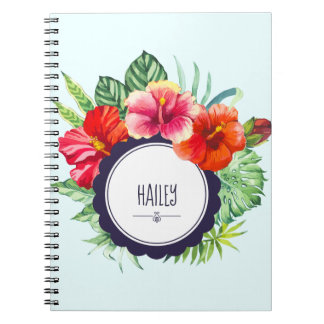 Personalized Watercolor Pink and Red Hibiscus Notebook