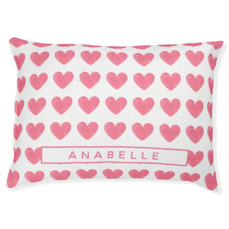 Personalized Watercolor Pink Heart Pattern Pet Bed