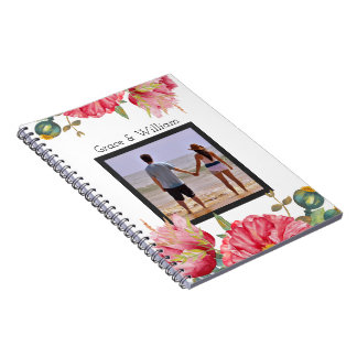 Personalized Watercolor Red Poppy Flower Spiral Notebook