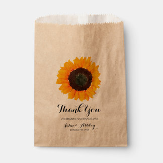 Personalized Watercolor Sunflower Fall Wedding Favour Bags
