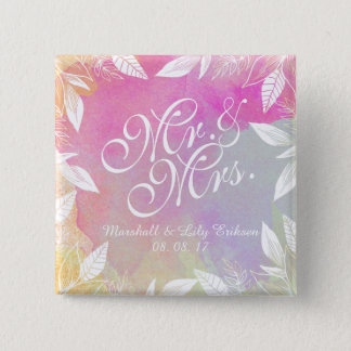 Personalized Watercolor Wedding Pin Button