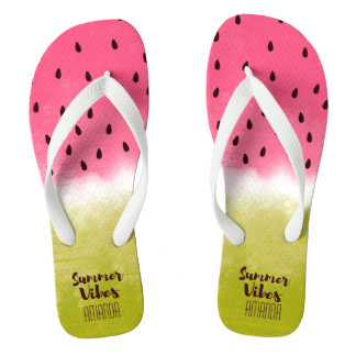Personalized watermelon background summer vibes flip flops