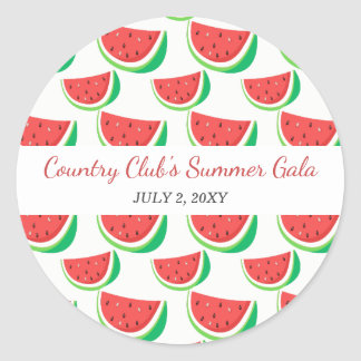Personalized Watermelon Pattern Summer Party Classic Round Sticker