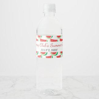 Personalized Watermelon Pattern Summer Party Water Bottle Label